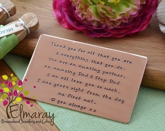 7th anniversary gift personalised card wallet insert hand stamped aluminium or copper