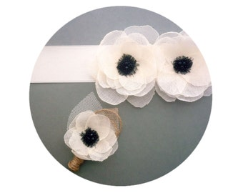 White Poppy Bridal Sash, Wedding Sash and Boutonniere for Groom - Anemones Rustic Wedding
