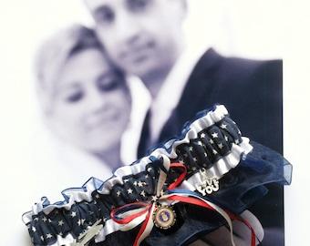 US Military Air Force Wedding Garter - Toss Garter - Set - AF Blue - AF Stars and Stripes - Bride - Bachlorette - Into the Wild Blue Yonder