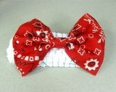 Red Bandana Bow, Baby Headband, Newborn, Baby, Girl Red Bandana Headband, Cowgirl Country Headband, Baby Head Band