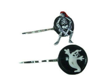 Skeleton Hair Clip, Gothic Hair Accessories, Day of the Dead, Bobby Pins, Halloween Accessories