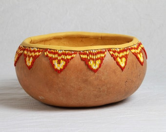 decorative beaded gourd with southwestern influence