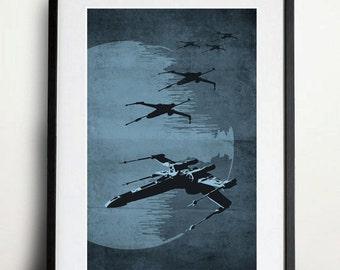 Star Wars X-Wing Poster Vintage Print
