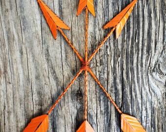 BOLD bright tangerine orange metal arrow wall art //  tribal bohemian shabby boho chic // rustic Native American // beach weathered