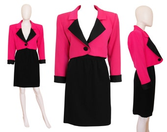 Yves Saint Laurent 1980s 1990s Vintage Power Dressing Skirt Suit Shocking Pink Black Jacket Skirt US Size 6 Small
