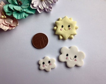 Clay Flatback smiley sun and cloud pack embellishments deco