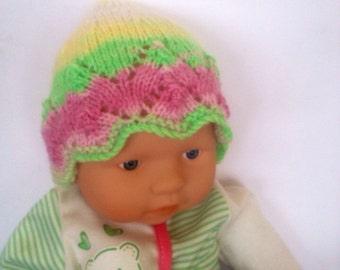 Hippie rainbow multiOoak unique designer baby girls hand knit,crocheted beanie cap,newborn to 3 months,flower photo prop