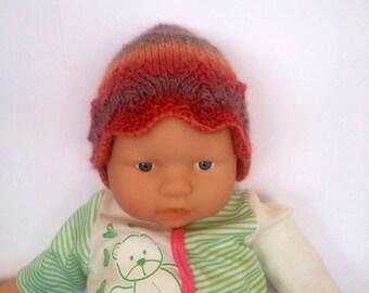 Hippie rainbow multi Ooak unique designer baby girls hand knit,crocheted beanie cap,newborn to 3 months,flower photo prop fall autumn