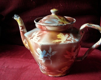 Vintage Enamelware Teapot Elite Czechoslovakia Polychrome Graniteware Agate Ware Rare 1920s