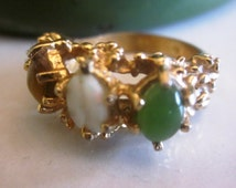 Vintage 18KT HGE Three Stone Ring, Jade, Tiger Eye and Milk Glass in Heavy Gold Electroplate Setting, Size 5, Anniversary, Birthday Jewelry