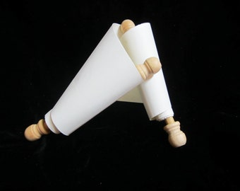 Small Blank Scroll Wooden spindles; historic style blank writing paper scroll