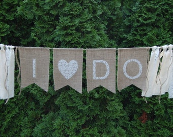 Rustic I Do Banner - Mr and Mrs Rustic Burlap Banner- Engagement Photo Prop - Head Table