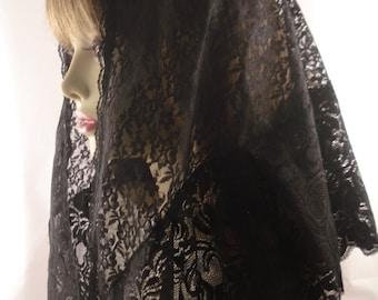 Traditional Mantilla / Long Triangle Veil / Chapel Veil / Triangular Veil /  Catholic Head Covering / Veil for Mass / The Dominque Veil.