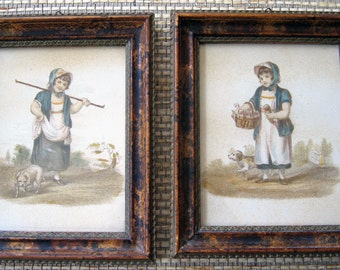 Adorable Little Girl Pictures, Vintage and Framed, set of 2