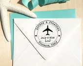 Airplane Stamp with hearts, initials and date for Save the Dates & Wedding Invitations