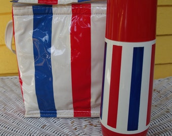 SALE! Vintage 1970s Red White and Blue Striped Thermos and Matching Insulated Bag by Thermo Serv
