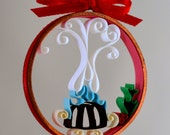 Christmas ornament plum pudding quilled paper in copper ring