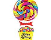 "40"" Happy Birthday Lollipop Foil Balloon, air/helium fill, DIY, self sealing, supply & party favor"