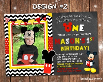 Mickey Mouse Classic Chevron Chalkboard Birthday Party One 1 First Boy Photo Invitations Clubhouse - Printable