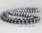 Black Pearl Necklace, Long Pearl Necklace, Black Peacock Pearls, Double Strand of Pearls