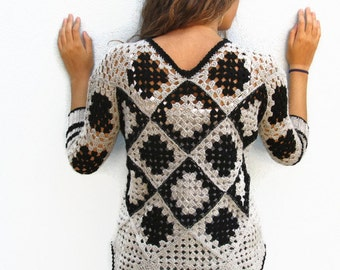 Retro Women Crochet  Granny square sweater. Grey-Black granny square Crochet Afghan for women. Unique Design Krisswool OOAK