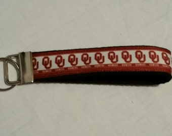 Handcrafted NCAA Oklahoma University Sooners Key Chain Wristlet NEW