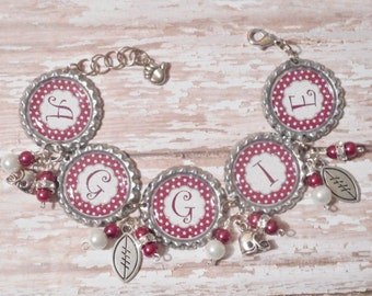 Aggie Inspired Glitter Bottlecap Bracelet with Beads and Bling