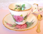 Antique Paragon Teacup and Saucer with Pink Roses and Gold English Fine Bone China Tea Cup Set 1950's England By Appointment to HM The Queen