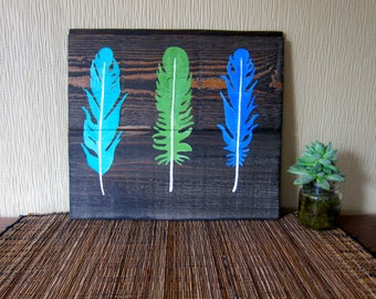Tri Feather - Reclaimed Wood Art Blue Green Painted Wood Salvaged Art Gift