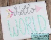 Hello World Embroidery Design
