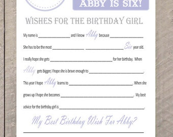 Horse, Equestrian, Cowgirl Themed Birthday Mad Libs Birthday Memories- Party Game, Party Wishes