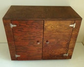 Vintage Wood Handmade Storage Cabinet Box with Doors Shelves Casters Craft Chest