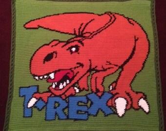 T-Rex Dinosaur Crochet Blanket