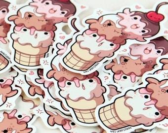 Cute Ice Cream Cone Dessert Octopi Sticker