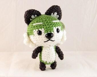 Green Amigurumi Fox Plush (ready-to-ship; WYSIWYG)