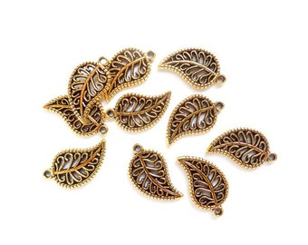 10 Antique Gold Leaf Charms - 21-47-1