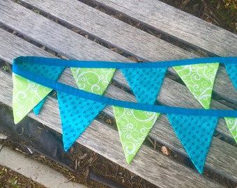 Teal and Lime Green Pennant Banner