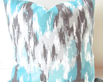 Gray and BLUE THROW PILLOWS Turqouise Pillow Covers Mint Pillows Aqua Blue Pillow Covers 16 18 20 Ikat Brown Pillows Gray pillow cover