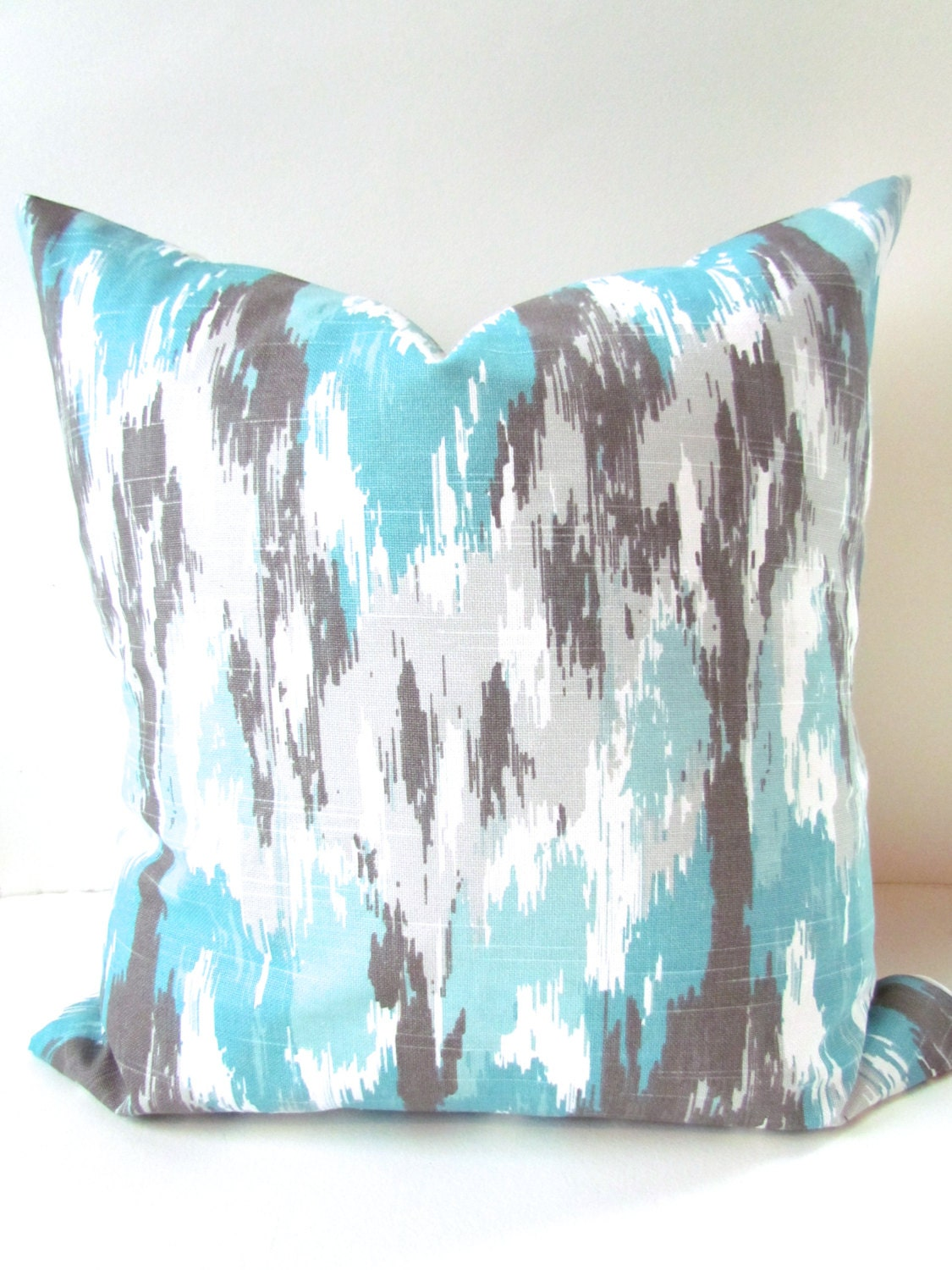 Gray and BLUE THROW PILLOWS Turqouise Pillow Covers Mint
