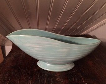 Vintage 1960s Mid-Century Modern McCoy Pottery Planter Harmony Line Mist Blue & White Retro Modernist Cool