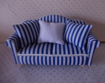 Blue and white  dolls house sofa dollhouse lounge furniture
