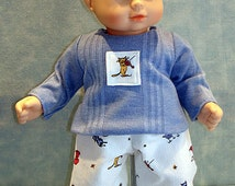 15 Inch Doll Clothes - Hey Diddle Diddle Pants Outfit made by Jane Ellen to fit 15 inch baby dolls