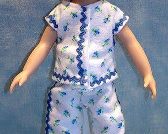 8 Inch Doll Clothes - Blue Rosebud Pajamas made by Jane Ellen to fit 8 inch dolls