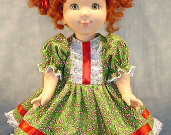 18 Inch Doll Clothes - Candy Canes on Lime Christmas Dress made by Jane Ellen to fit slender 18 inch dolls