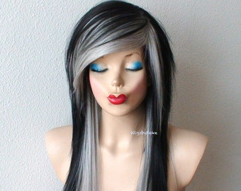 Scene wig. Emo wig. Black / Gray wig. Black gray hair Long straight hairstyle side bangs wig. Durable synthetic wig for daily use or Cosplay