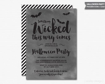 Something Wicked Halloween Invitation Halloween Party Watercolor Calligraphy Bats Halloween Party Invite Printable Halloween Invite Digital