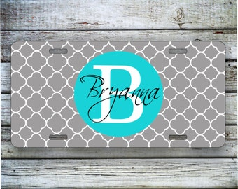 Monogrammed Gift License Plate, Car Tag -  Gray Quatrefoil Lattice with Turquoise Monogram, Custom Car Tag, Front License Plate