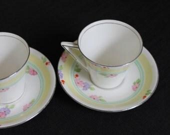 set of 3 Standard England pastel floral teacups & saucers