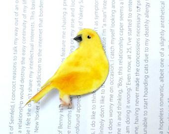 Yellow Canary, bird brooch, bird badge, bird jewelry, hand painted brooch, bird pin.