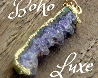 Amethyst Geode Crystal Slice Necklace Bohemian Jewelry Boho Luxe